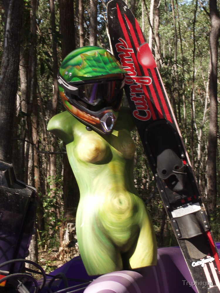 Green Woman skis by Trypheyna