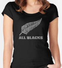 """The Rugby Team """"All Blacks"""" of New Zealand  Women's Fitted Scoop T-Shirt"""