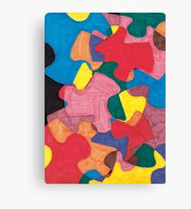 big puzzle piece in many colors Canvas Print