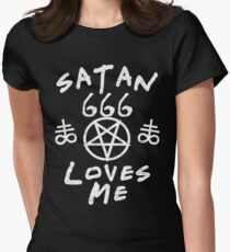 SATAN LOVES ME - FUNNY SATANIC SATANISM AND THE OCCULT Women's Fitted T-Shirt