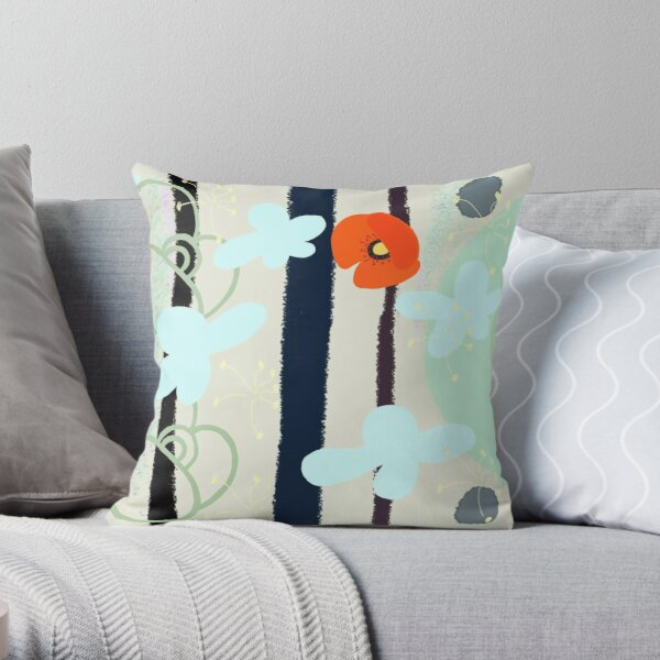 Motif coquelicot vert Throw Pillow