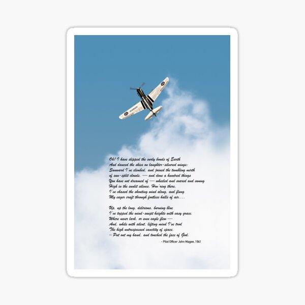 Silver P-40 High Flight poem Sticker
