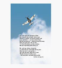 Silver P-40 High Flight poem Photographic Print