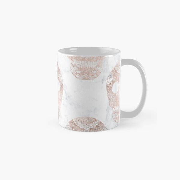 Modern hand drawn floral lace rose gold skulls on white marble Classic Mug