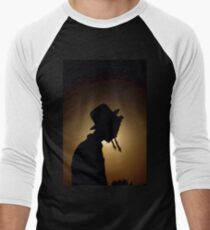 silhouette of a Jewish ultra religious man in traditional dress  Men's Baseball ¾ T-Shirt