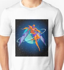 future spacesuit cyborg winged character in space T-Shirt