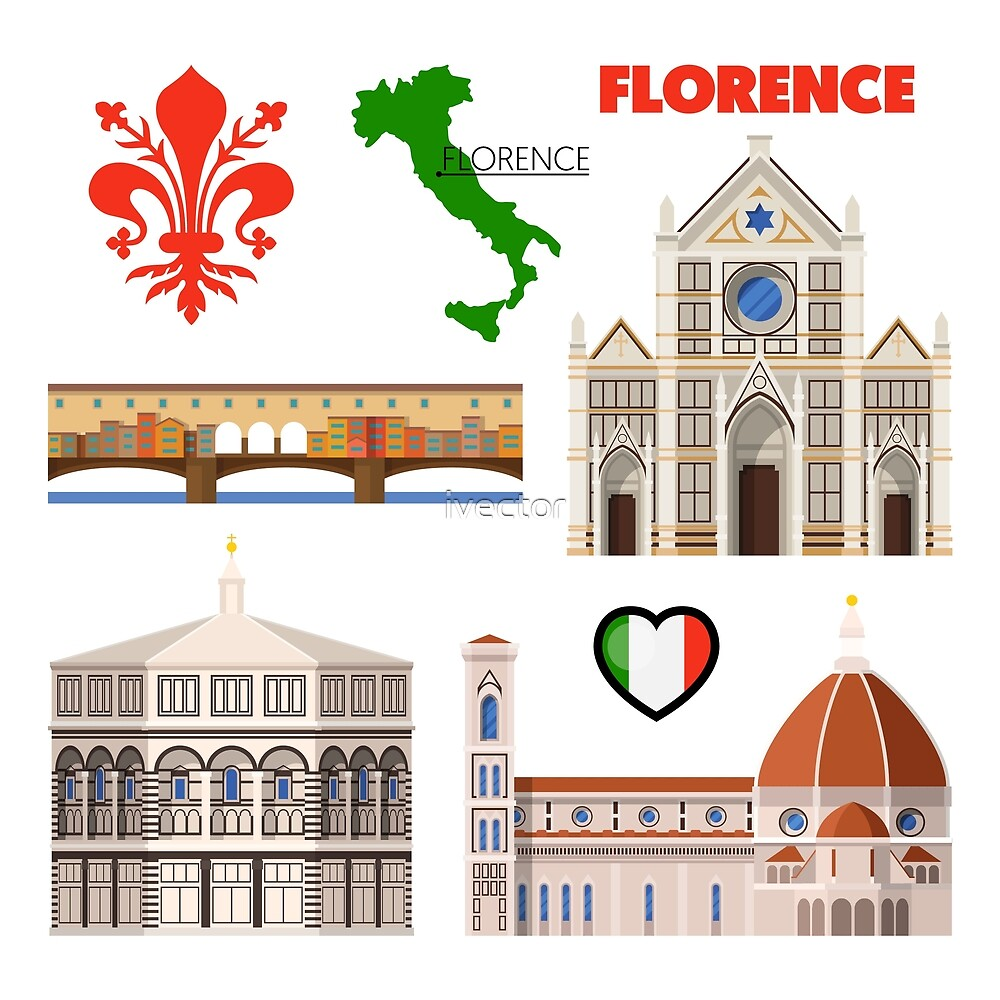 Florence Italy Travel Doodle With Architecture Map And Flag