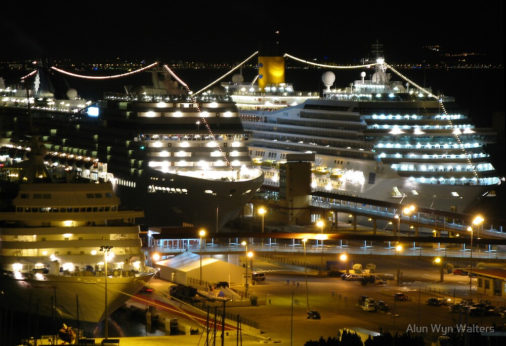 Night Cruise Ship Boat Palma Marina Harbour Mallorca Mediterranean by Alun Wyn Walters