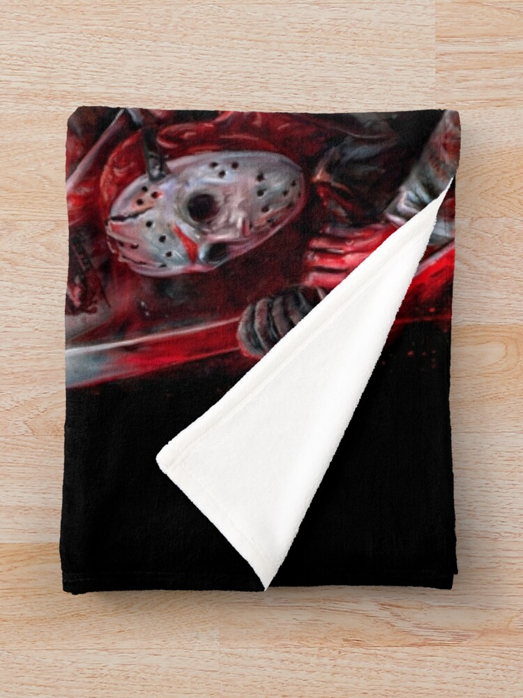 Alternate view of Jason Voorhees (Many faces of) Throw Blanket