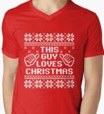 This Guy Loves Christmas Sweater Men's V-Neck T-Shirt
