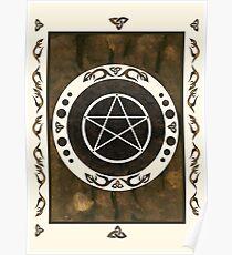 Pentagram with trinity symbol. Pagan Art. Poster