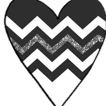 black and white zig zag heart by molly34