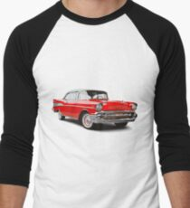 57 chevy Men's Baseball ¾ T-Shirt