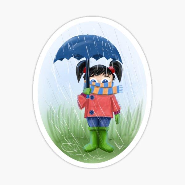 LITTLE GIRL WITH UMBRELLA Sticker