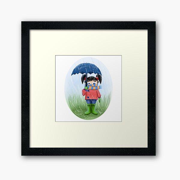 LITTLE GIRL WITH UMBRELLA Framed Art Print