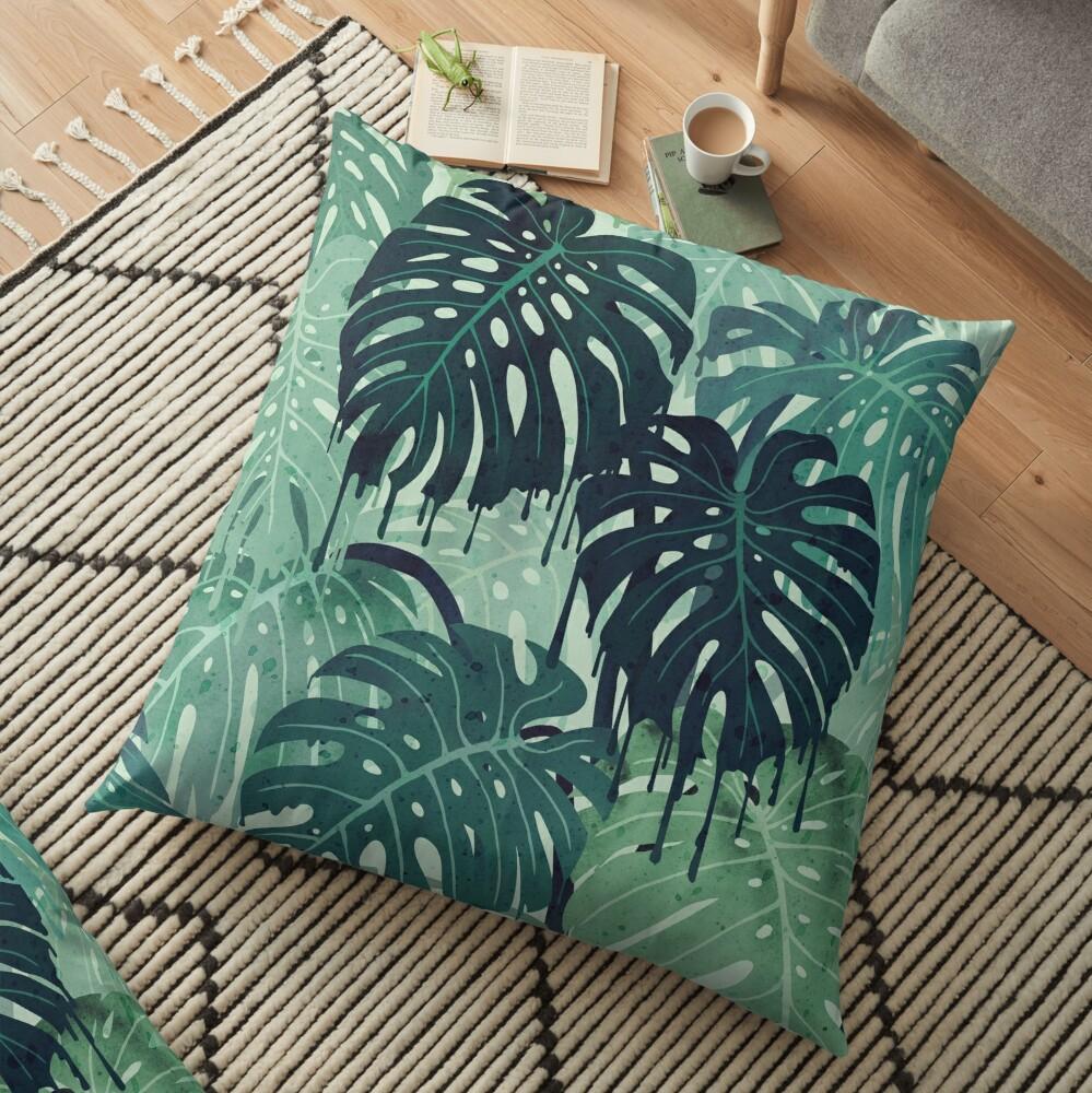 Monstera Melt (in Green) Floor Pillow