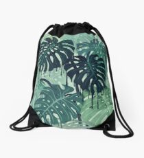 Monstera Melt (in Green) Drawstring Bag