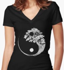 Yin Yang Bonsai Tree Japanese Buddhist Zen Women's Fitted V-Neck T-Shirt