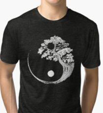 Yin Yang Bonsai Tree Japanese Buddhist Zen Tri-blend T-Shirt