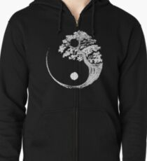 Yin Yang Bonsai Tree Japanese Buddhist Zen Zipped Hoodie