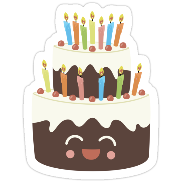 Happy Happy Birthday Cake In Chocolate Stickers By Caroline Moore