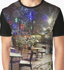 Snow-covered street cafe tables on winter street, Strasbourg, Christmas time. Night scene with highlighted old buildings. Tourisitic concept. France. Graphic T-Shirt