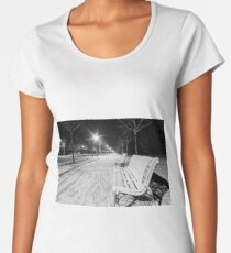 Night in the park after snowfall. White road, benches, street lamps highlighting alley. Strasbourg, France Women's Premium T-Shirt