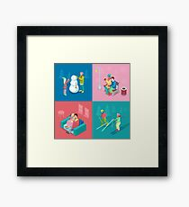 Isometric Winter People. Skiing Couple, Girl and Boy Making Snowman, Walking Outdoor.  Framed Print