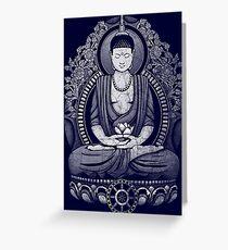 Gautama Buddha White Halftone Distressed Greeting Card