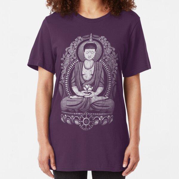 Gautama Buddha White Halftone Distressed Slim Fit T-Shirt