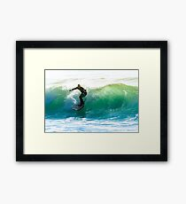 Surfing the waves Framed Print