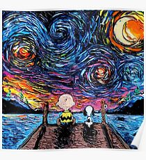 Snoopy Starry Night Poster