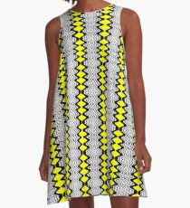 Modern Yellow Matrix Line Dress A-Line Dress