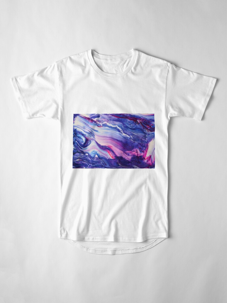 Alternate view of Tranquil Swirls Hybrid Painting Long T-Shirt