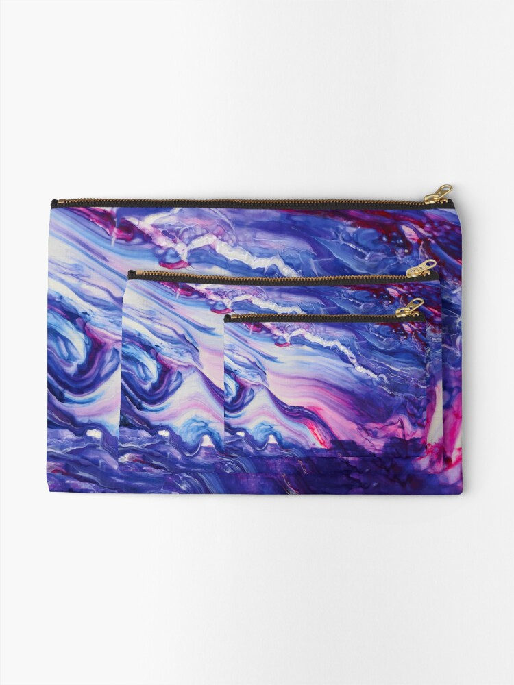 Alternate view of Tranquil Swirls Hybrid Painting Zipper Pouch