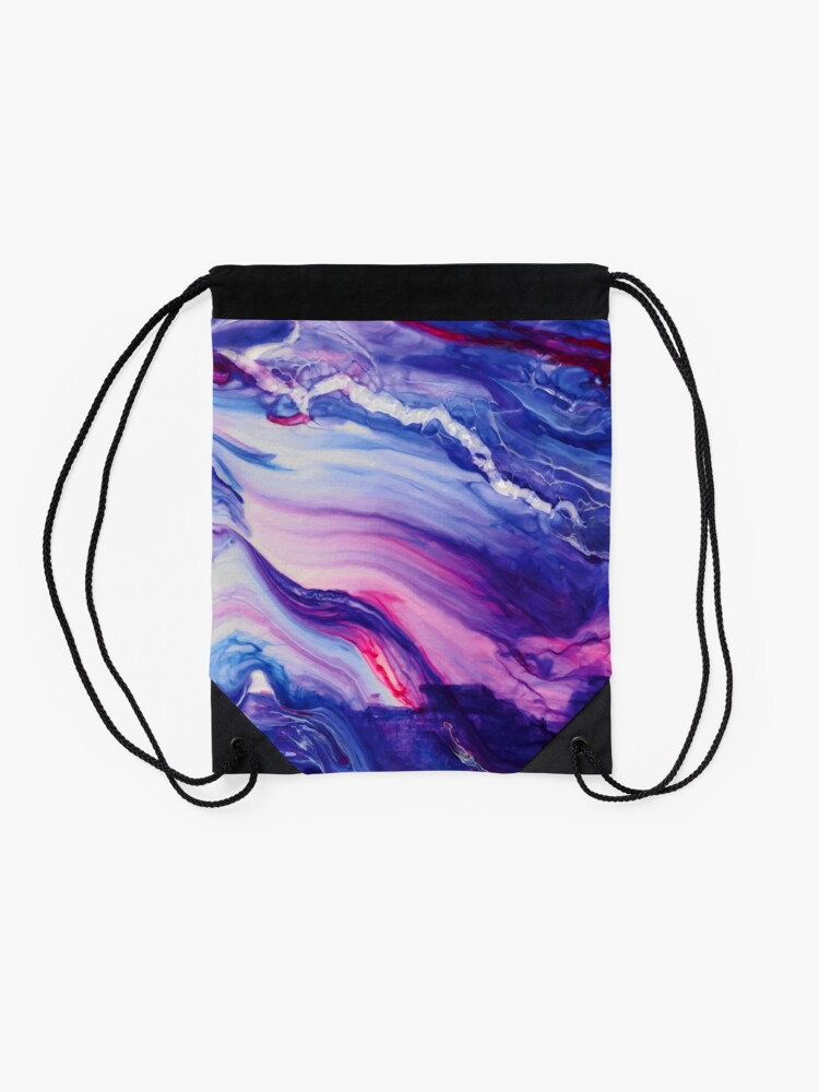 Alternate view of Tranquil Swirls Hybrid Painting Drawstring Bag