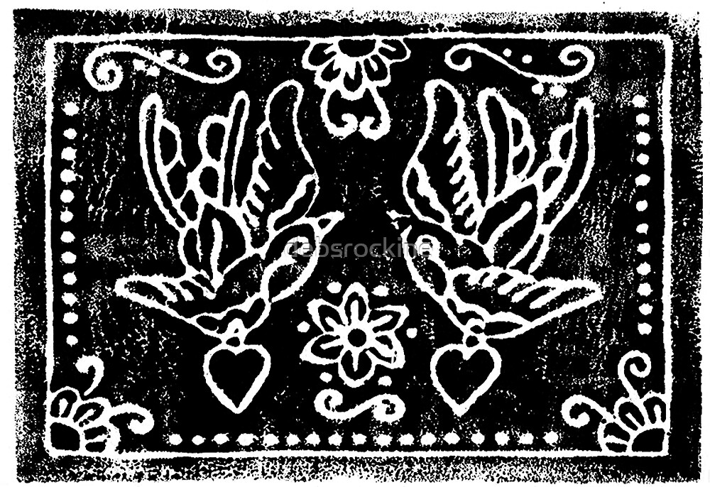 Traditional Swallow and Heart Card by debsrockine