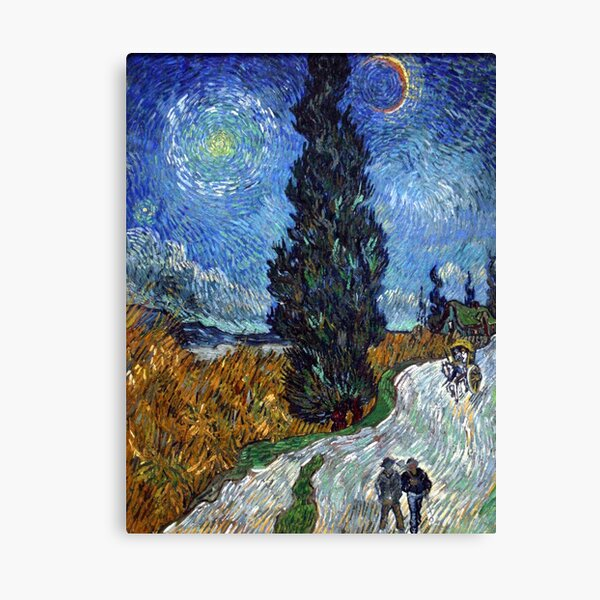 Road with Cypress and Star( Country Road in Provence by Night)- Vincent van Gogh Canvas Print