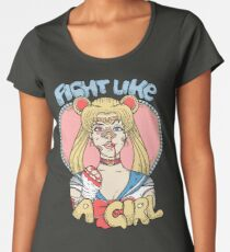 Sailor Moon- Fight Like a Girl Women's Premium T-Shirt