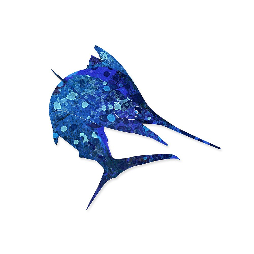 Mosaic Marlin / Watercolour Effect (Print) by blackmarlinblog