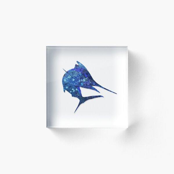 Mosaic Marlin / Watercolour Effect (Print) Acrylic Block