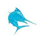 Mosaic Marlin / Watercolour Effect (Print) - Light by blackmarlinblog