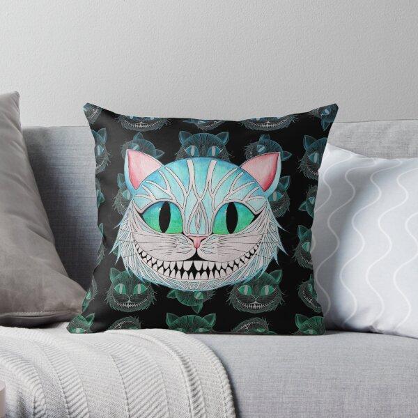 Cheshire Cat (Dark background) Throw Pillow
