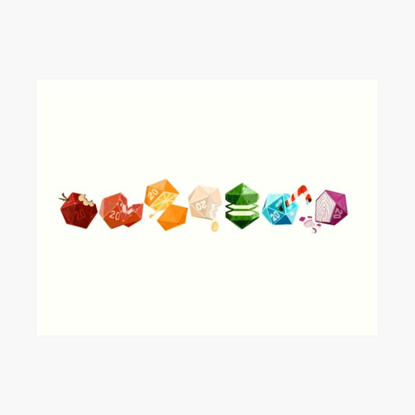 Food Dice Collection- Tabletop Potluck Art Print
