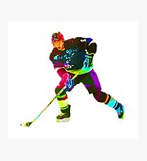 Colorful ice hockey player Photographic Print