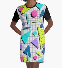 80s Retro Geometry Pattern Graphic T-Shirt Dress