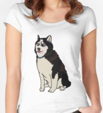 Staring Husky Fitted Scoop T-Shirt