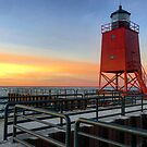 Charlevoix Pier at dusk by Megan Noble