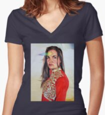 Visiting the Crystal Planet (detail) Women's Fitted V-Neck T-Shirt