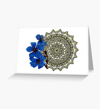Royal blue magnolia mandala Greeting Card